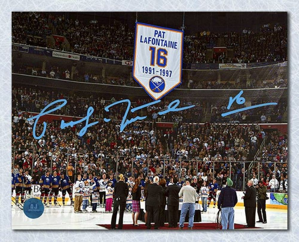 Pat LaFontaine Buffalo Sabres Autographed Jersey Retirement 8x10 Photo