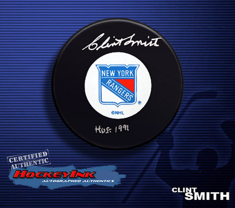 CLINT SMITH Signed New York Rangers Hockey Puck