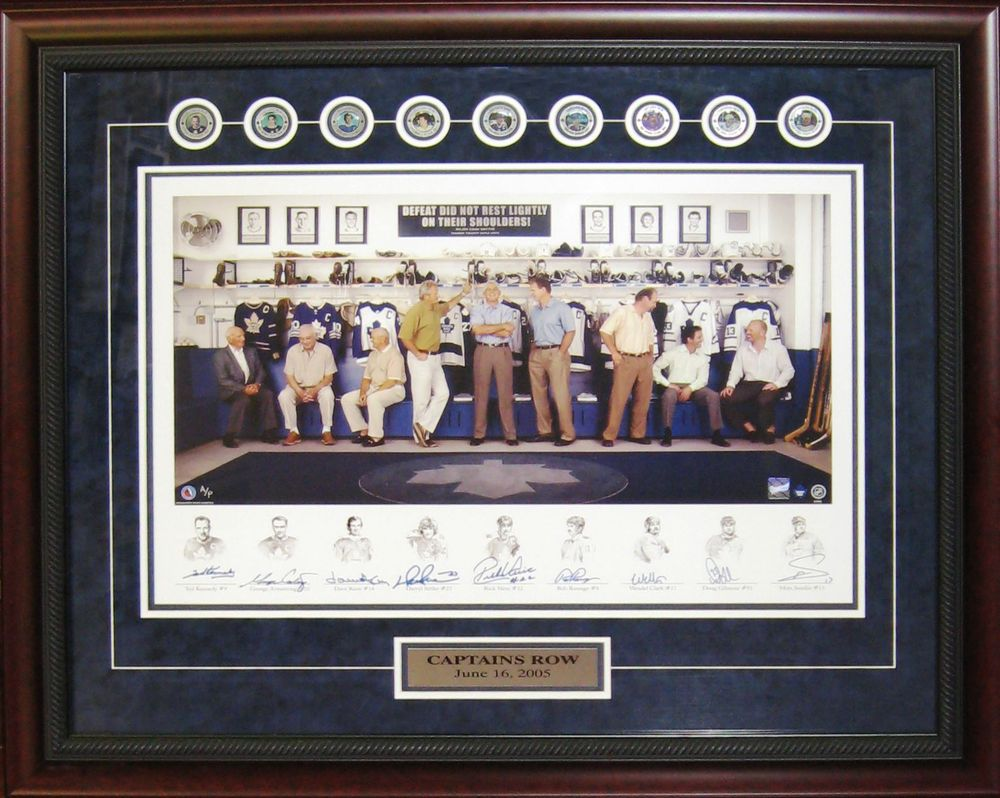 Legendary Leafs Captains - Multi Signed & Framed Print with Medallions - Ted Kennedy, George Armstrong, David Keon, Darryl Sittler, Rick Vaive, Rob Ramage, Wendel Clark, Doug Gilmour & Mats Sundin