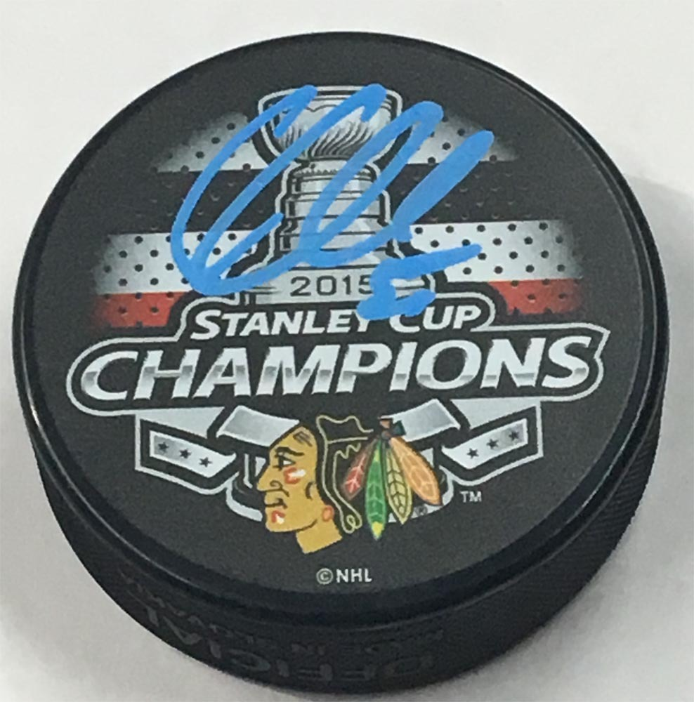 Corey Crawford Chicago Blackhawks Autographed 2015 Stanley Cup Champion Puck