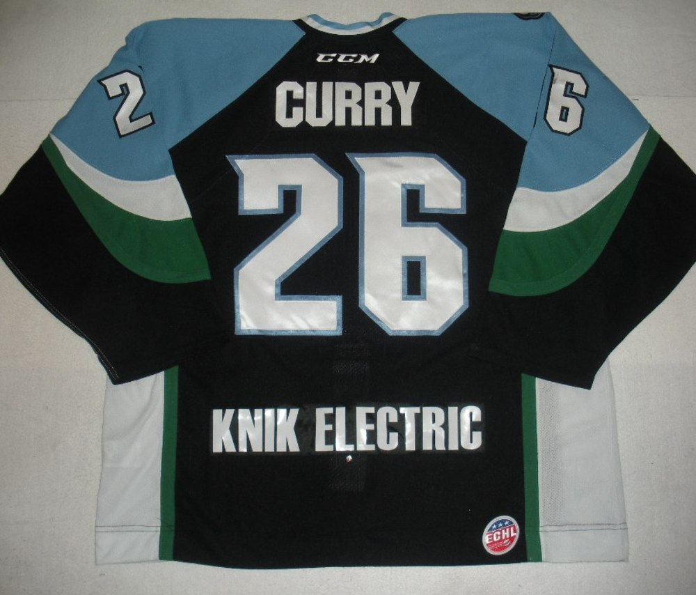 Sean Curry - 2014 Kelly Cup Finals - Alaska Aces - Black Game-Worn Jersey - Game 4