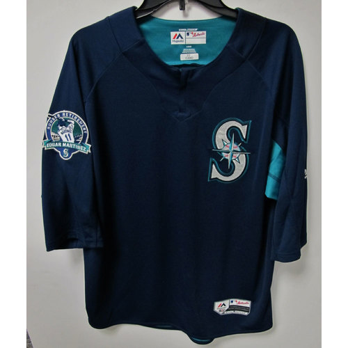 Photo of Robinson Cano Game-Used BP Jersey With Edgar Martinez Patch Worn 8-12-2017