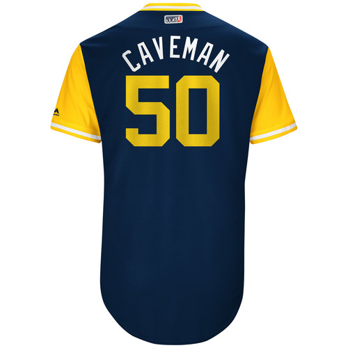 "Photo of Jacob ""Caveman"" Barnes Milwaukee Brewers Game-Used Players Weekend Jersey"