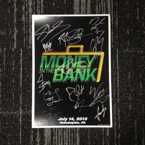 Money In The Bank 2013 Autographed Event Card (Signed by 13 Superstars)