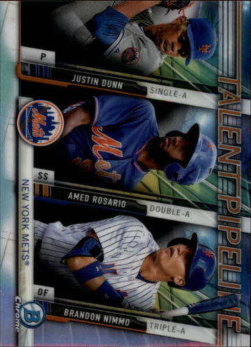 Photo of 2017 Bowman Chrome Talent Pipeline #TPNYM Justin Dunn/Amed Rosario/Brandon Nimmo