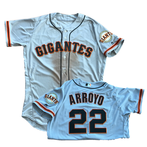 Photo of San Francisco Giants - 2017 Gigantes Road Jerseys - Game-Used on Cinco de Mayo -  Christian Arroyo #22 - 1 for 4 with HR