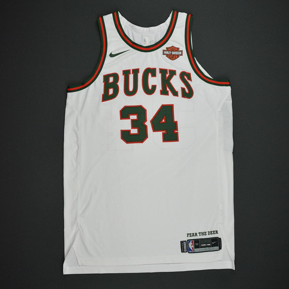 Giannis Antetokounmpo  - Milwaukee Bucks - Hardwood Classics 1968-69 Home Style Game-Worn Jersey - Double-Double - 2017-18 Season