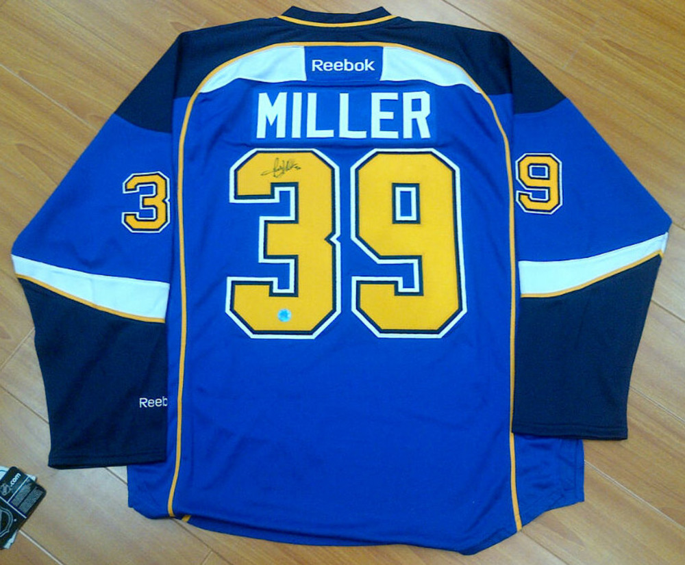 RYAN MILLER St. Louis Blues AUTOGRAPHED Blue Hockey Jersey