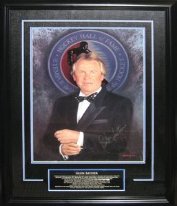 Glen Sather - Signed & Framed Hockey Hall Of Fame Print - Career Tribute