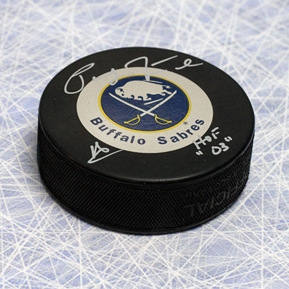 Pat LaFontaine Buffalo Sabres Autographed Hockey Puck w/ HOF Inscription