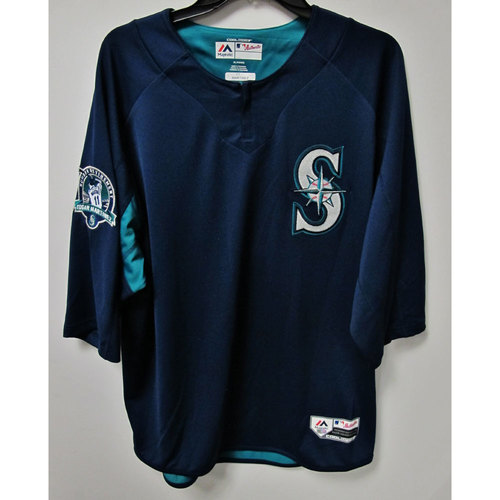 Photo of Edgar Martinez Team-Issued BP Jersey With Edgar Martinez Patch Worn 8-12-2017