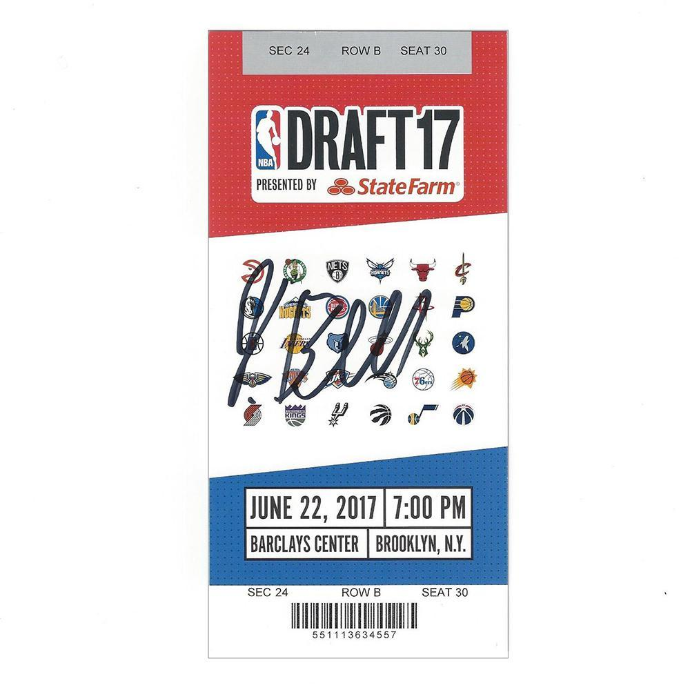 Jordan Bell - Golden State Warriors - 2017 NBA Draft - Autographed Draft Ticket