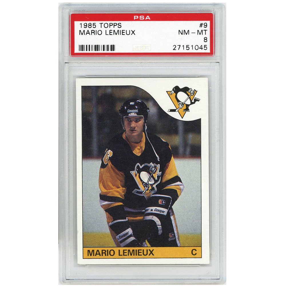 Mario Lemieux Pittsburgh Penguins 1985-86 Topps Rookie #9 Card PSA 8