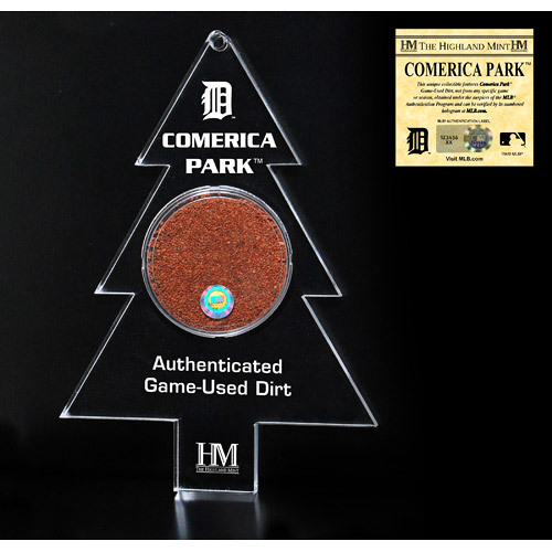 Detroit Tigers Christmas Tree Ornament with Authenticated Comerica Park Dirt