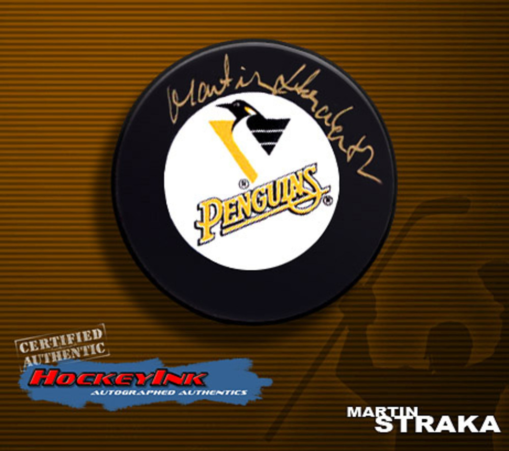MARTIN STRAKA Signed Pittsburgh Penguins Hockey Puck