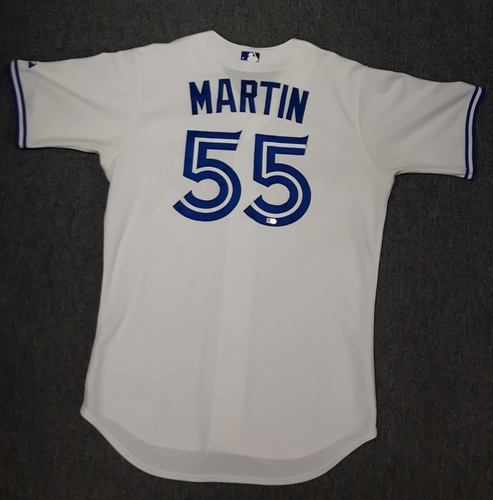 Photo of Authenticated Game Used Jersey - #55 Russell Martin (April 13, 2015: Blue Jays Home Opener). Martin went 0-for-3. 1st Home Game as a Blue Jay