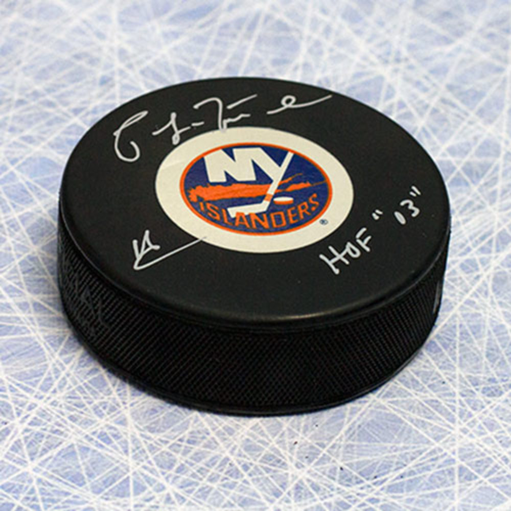 Pat LaFontaine New York Islanders Autographed Hockey Puck w/ HOF Inscription