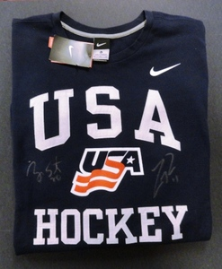 Ryan Suter and Zach Parise Signed Team USA Long Sleeve T-Shirt