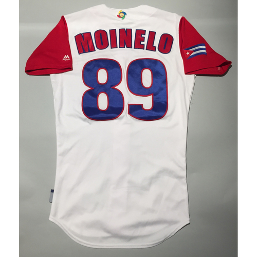 Photo of 2017 WBC: Cuba Game-Used Home Jersey, Moinelo #89