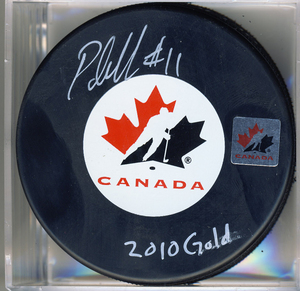 Patrick Marleau Team Canada Autographed Olympic Hockey Puck with 2010 Gold Note *Inscription Slightly Smudged* *San Jose Sharks*