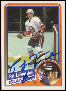 1984 OPC #129 Pat LaFontaine Autographed Rookie Card - New York Islanders