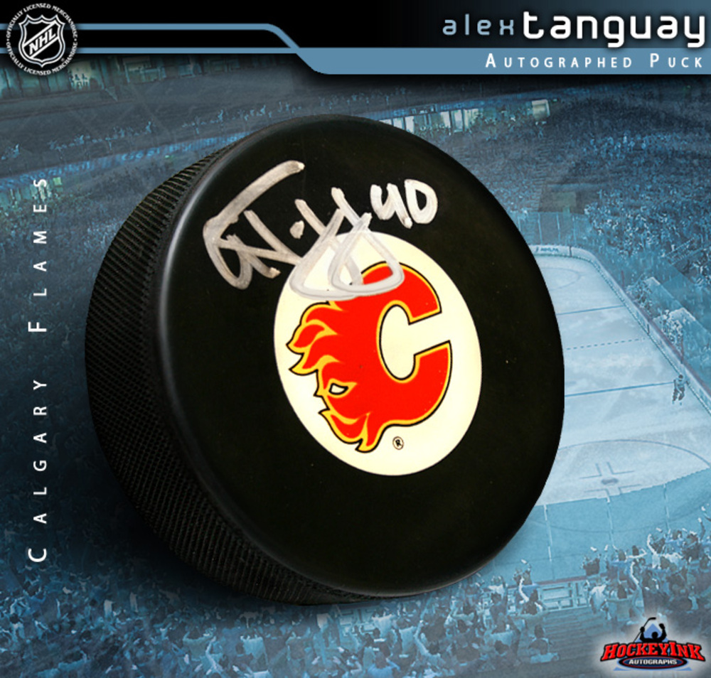 ALEX TANGUAY Signed Calgary Flames Puck