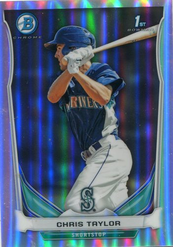 Photo of 2014 Bowman Chrome Prospects Refractors #BCP14 Chris Taylor 466/500 -- Dodgers post-season