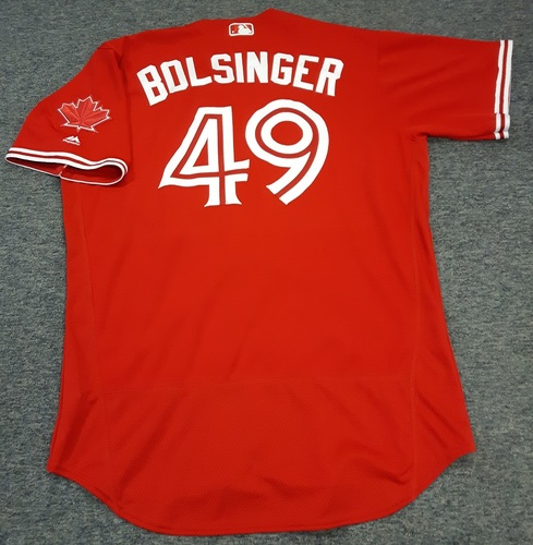 Photo of Authenticated Game Used Jersey - #49 Mike Bolsinger. May 28, 2017 - Did not Pitch. July 30, 2017 - 2.1 IP with 1 ER and 1 K. Size 48.