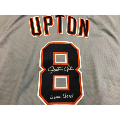 Photo of Autographed Game-Used Justin Upton Road Jersey