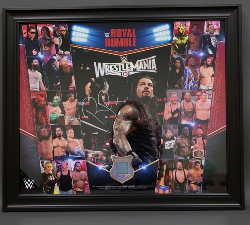 Photo of Roman Reigns SIGNED Limited Edition Royal Rumble Framed Ring Canvas Collage