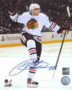 Patrick Kane - Signed 8x10 Chicago Blackhawks White Fist Pump Photo