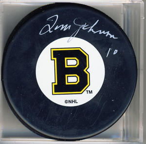 Tom Johnson Boston Bruins Autographed Hockey Puck *Autograph Slightly Streaky*