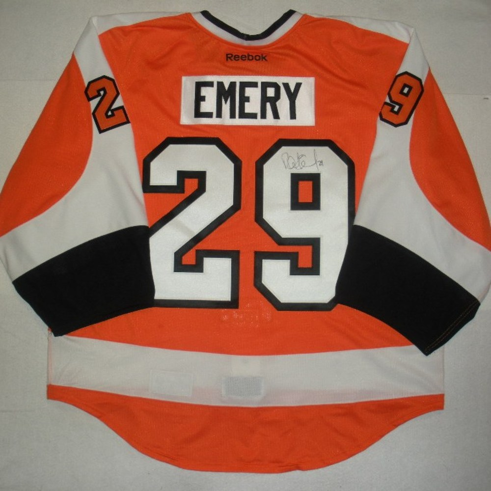 Ray Emery - Philadelphia Fire Department Warmup-Worn Flyers Jersey - Autographed