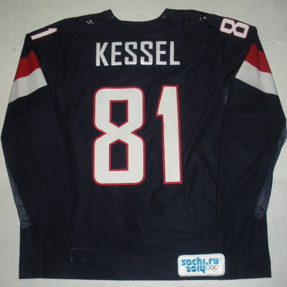 Phil Kessel - Sochi 2014 - Winter Olympic Games - Team USA Blue Game-Worn Jersey - Bronze Medal Game vs. Finland, 2/22/14