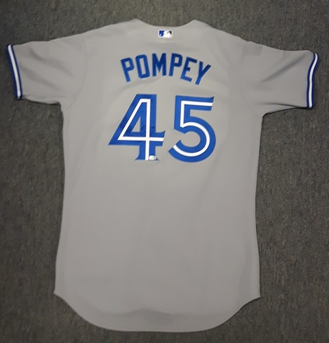 Photo of Authenticated Game Used Jersey - #45 Dalton Pompey - MLB Debut Jersey on Sept 2, 2014 vs Tampa Bay