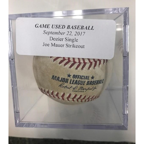 Photo of Game-Used Baseball: Brian Dozier Single & Joe Mauer Strikeout