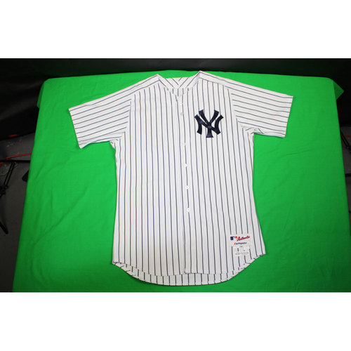 Photo of Andrew Miller Jersey - NY Yankees 2015 Game-Used #48 Pinstripe Jersey 8/26/2015 (Size 48)