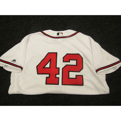 "Photo of Braves Charity Auction - Brian Snitker Game Used & Autographed Braves ""42"" Jersey"