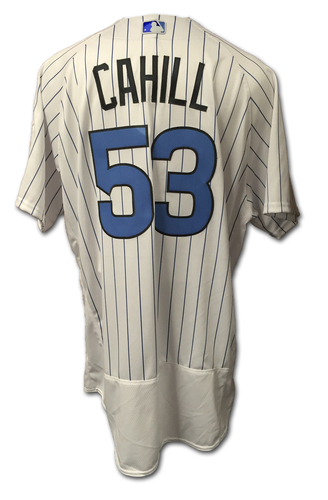 Photo of Trevor Cahill Game-Used Jersey -- Father's Day 2016 -- Pirates vs. Cubs -- 6/19/16