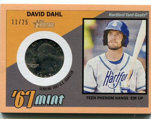 Photo of 2016 Topps Heritage Minors '67 Mint Relics Quarter Peach  David Dahl 11/25