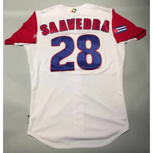 Photo of 2017 WBC: Cuba Game-Used Home Jersey, Saavedra #28
