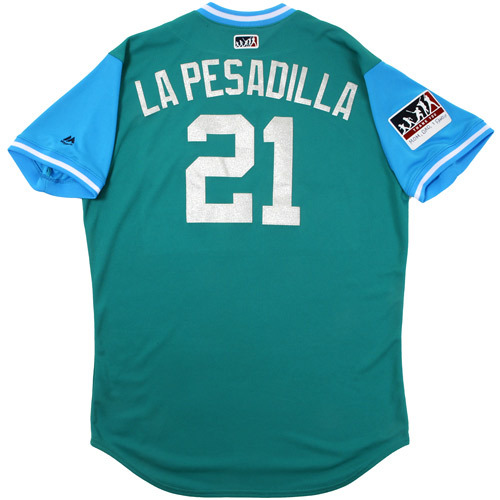 """Photo of Taylor """"La Pesadilla"""" Motter Seattle Mariners Game-Used Players Weekend Jersey"""