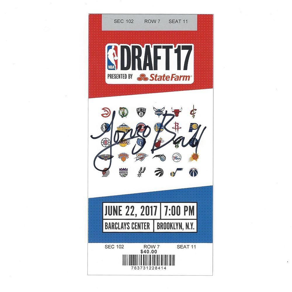 Lonzo Ball - Los Angeles Lakers - 2017 NBA Draft - Autographed Draft Ticket