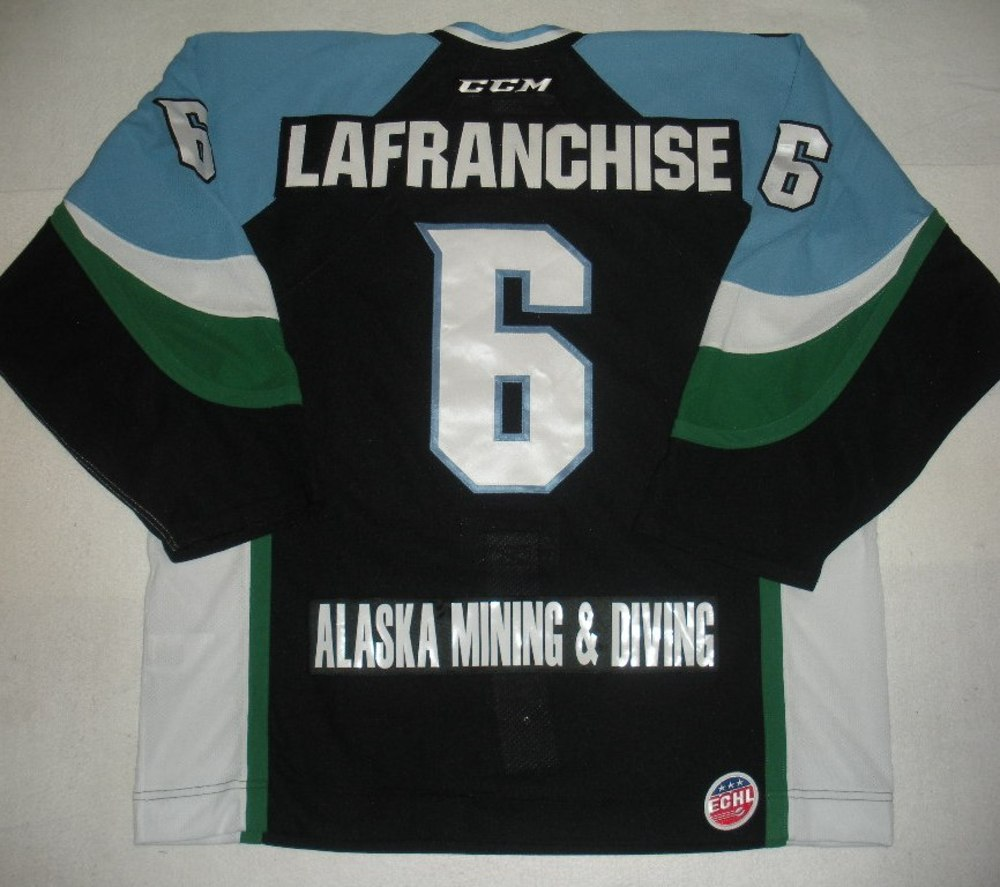 Kane Lafranchise - 2014 Kelly Cup Finals - Alaska Aces - Black Game-Worn Jersey - Game 4