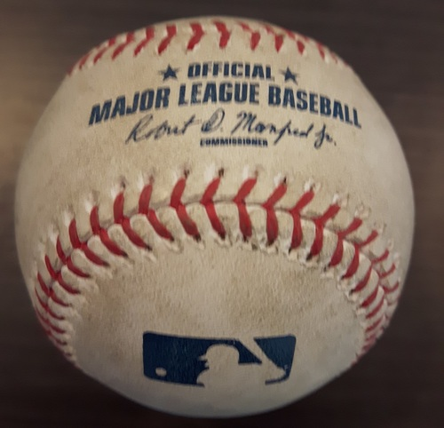 Photo of Authenticated Game Used Baseball - Danny Barnes Strikeout on May 10, 2017 (Top 6 vs Carlos Santana)