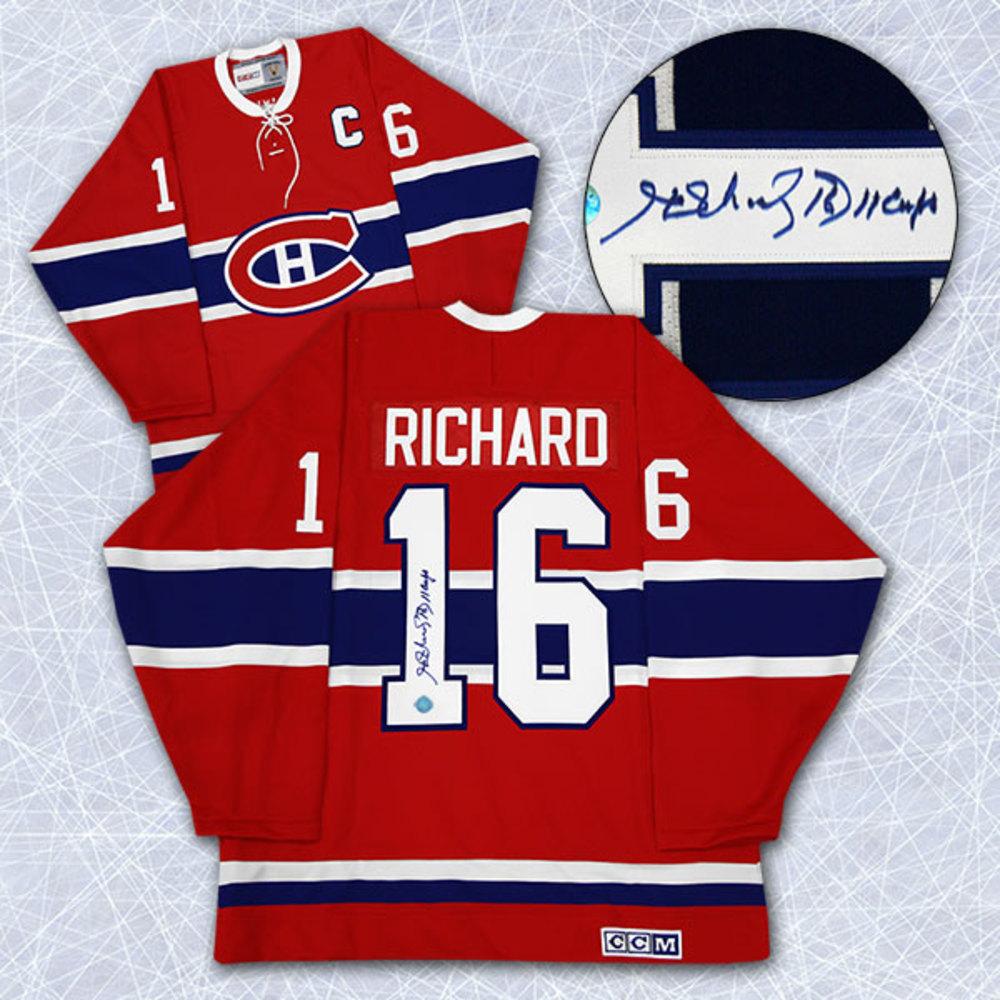 Henri Richard Montreal Canadiens Autographed Retro CCM Jersey w/ 11-Cups Note
