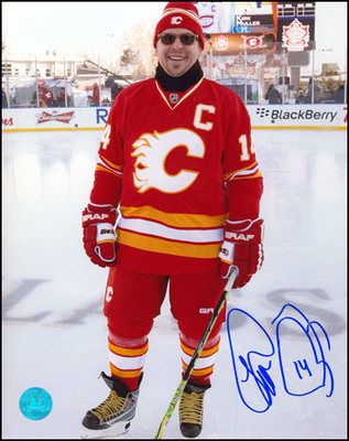 THEO FLEURY Calgary Flames SIGNED Heritage Classic Legends11x14 Photo