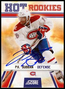 2010 Score P.K. Subban Autographed Rookie Card - Montreal Canadiens