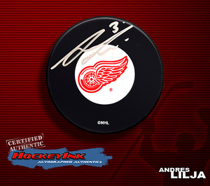 ANDREAS LILJA Signed Detroit Red Wings Puck