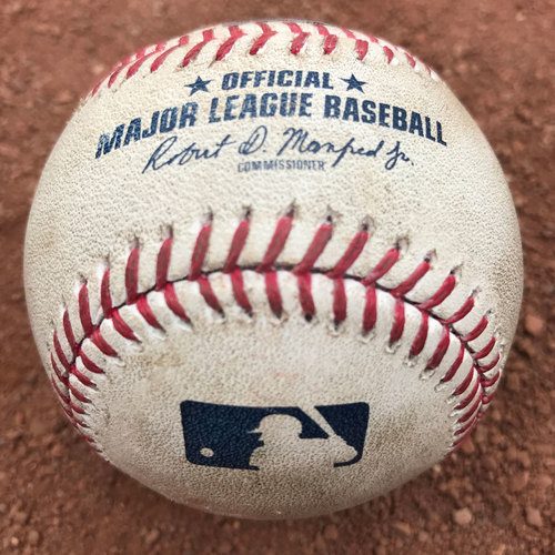 San Francisco Giants - 2017 Game-Used Baseball - Jake Arrieta strikes out Brandon Crawford (August 7th: also, Ryder Jones hit by pitch)